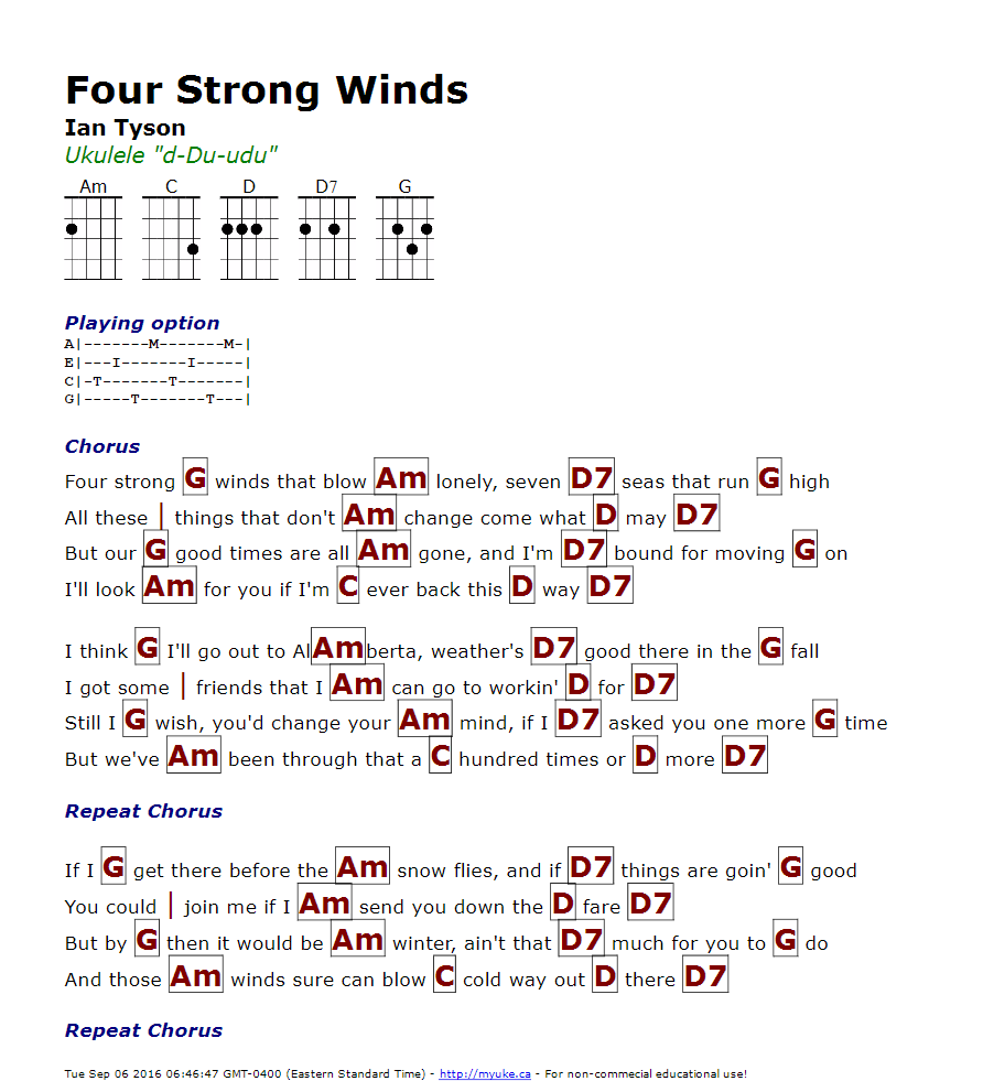 Four Strong Winds Guitar Chords