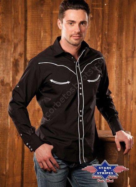 Camisa western retro negra para hombre 199bb480f91