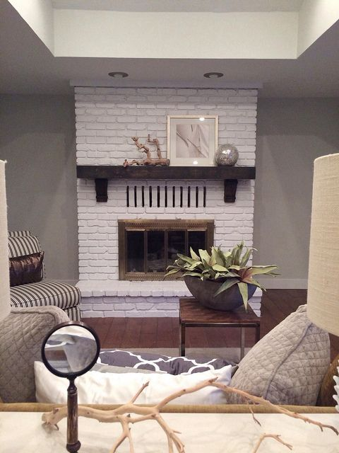 Painted Brick Fireplace Wood Mantle And Brass Gate Painted Brick
