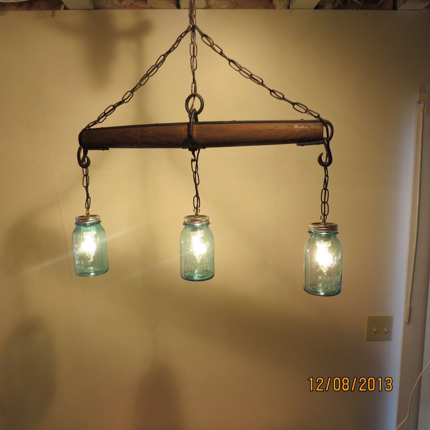 Just Reduced!! Rustic Handmade 3 Bulb Hanging Light