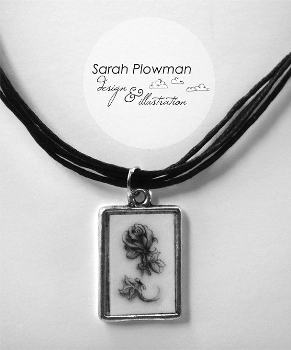 tattoo inspired rose necklace :)