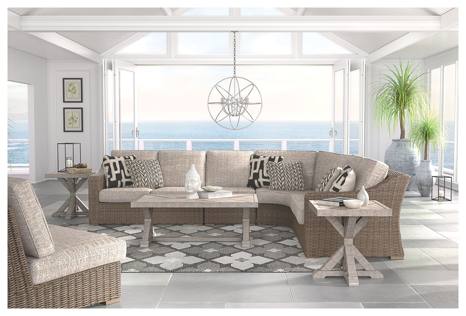 Beachcroft Armless Chair with Cushion, Beige   Outdoor ... on Beachcroft Beige Outdoor Living Room Set id=67456