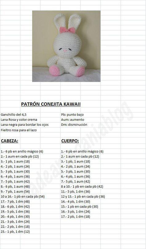con A de artesanía: Patrón Conejita Kawaii | amigurumi | Pinterest ...