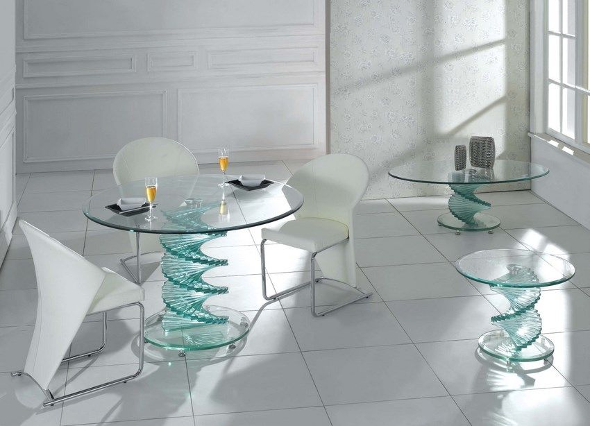 Home Furniture With Modern Glass Dining Set