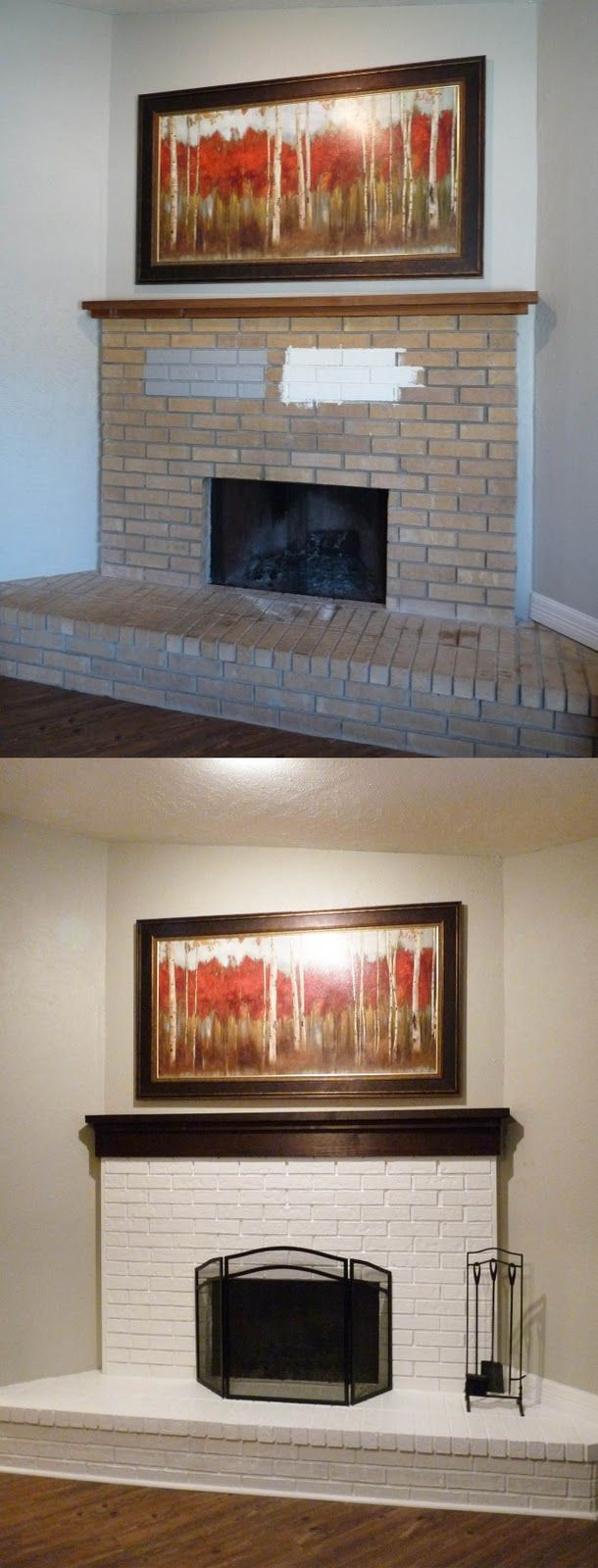 DIY brick fireplace painted white Would love to paint my brick