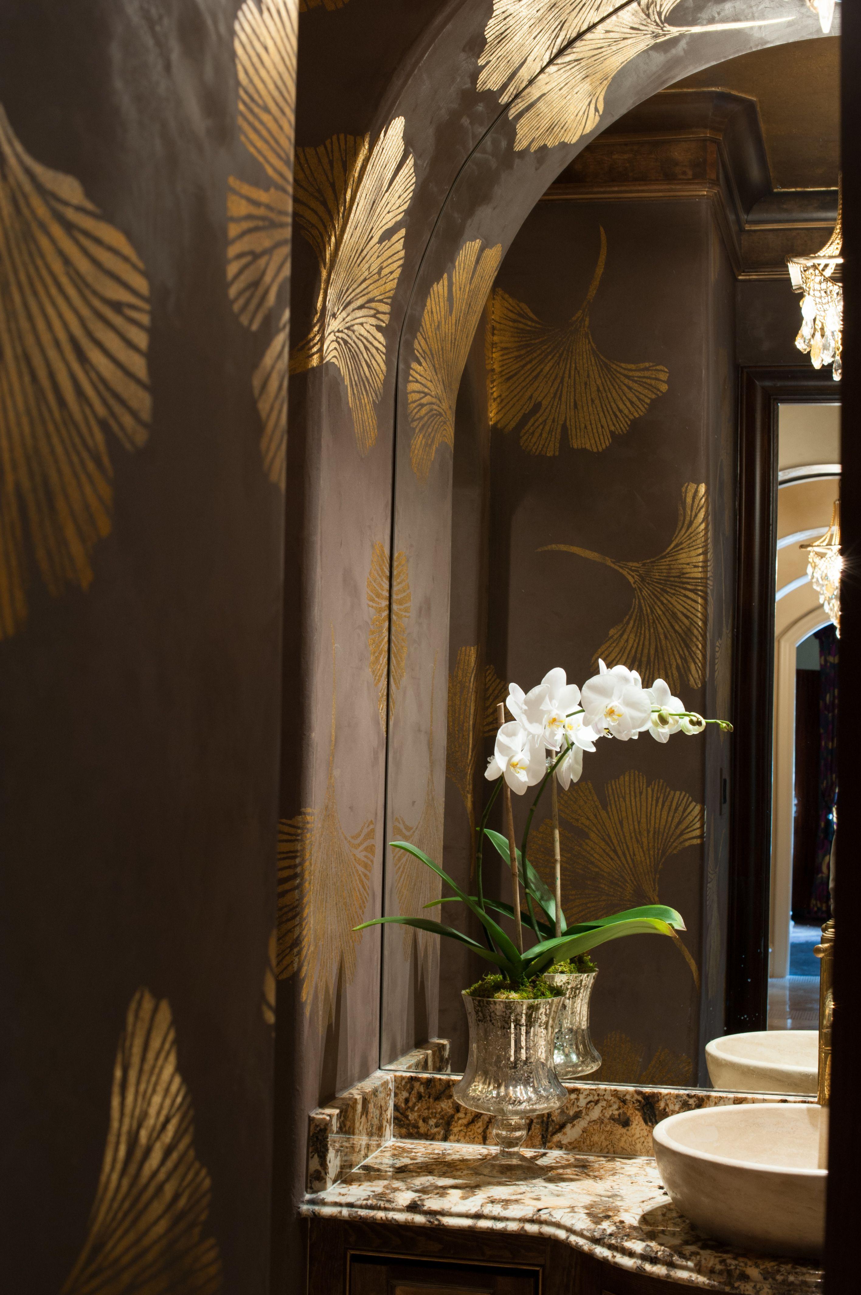 Powder Bath Gold leaf Ginko Leaves Powder room wallpaper