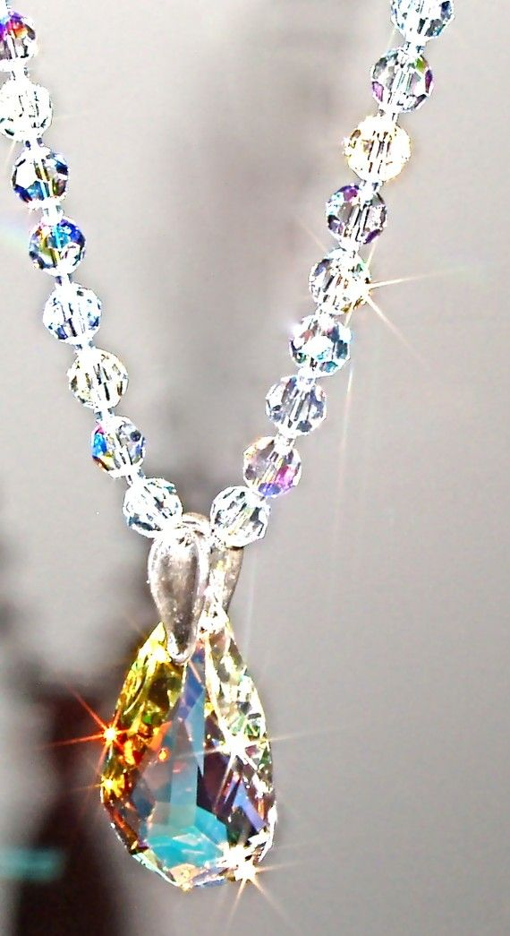 AB Swarovski Crystal Necklace and Drop Pendant - Long  bcfe9e21e