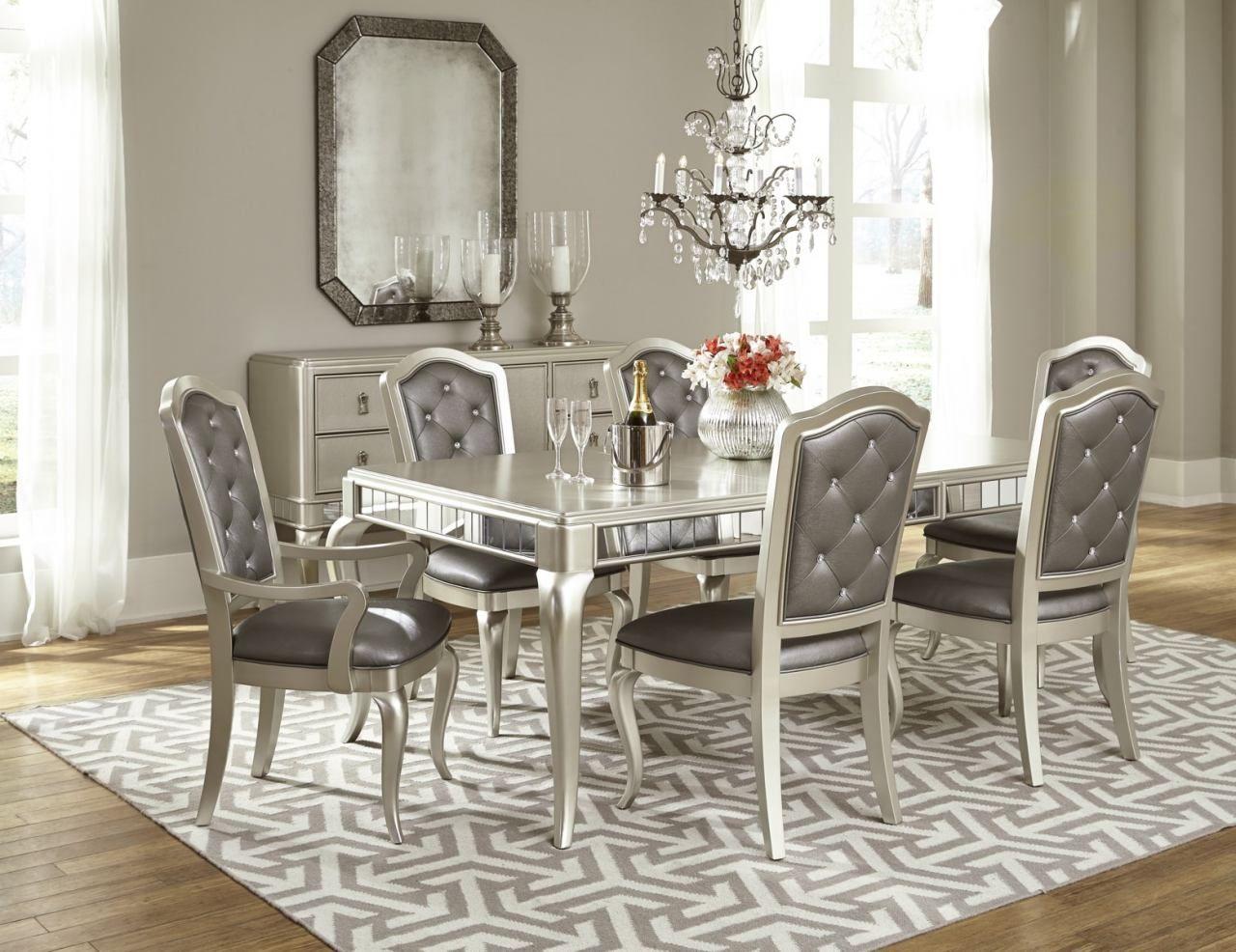 rectangle kitchen table set. Samuel Lawrence Diva 7-Piece Rectangular Dining Set In Metallic Rectangle Kitchen Table