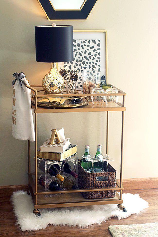 my beloved gold target wine themed bar cart revealed basement diy bar cart bar cart decor. Black Bedroom Furniture Sets. Home Design Ideas