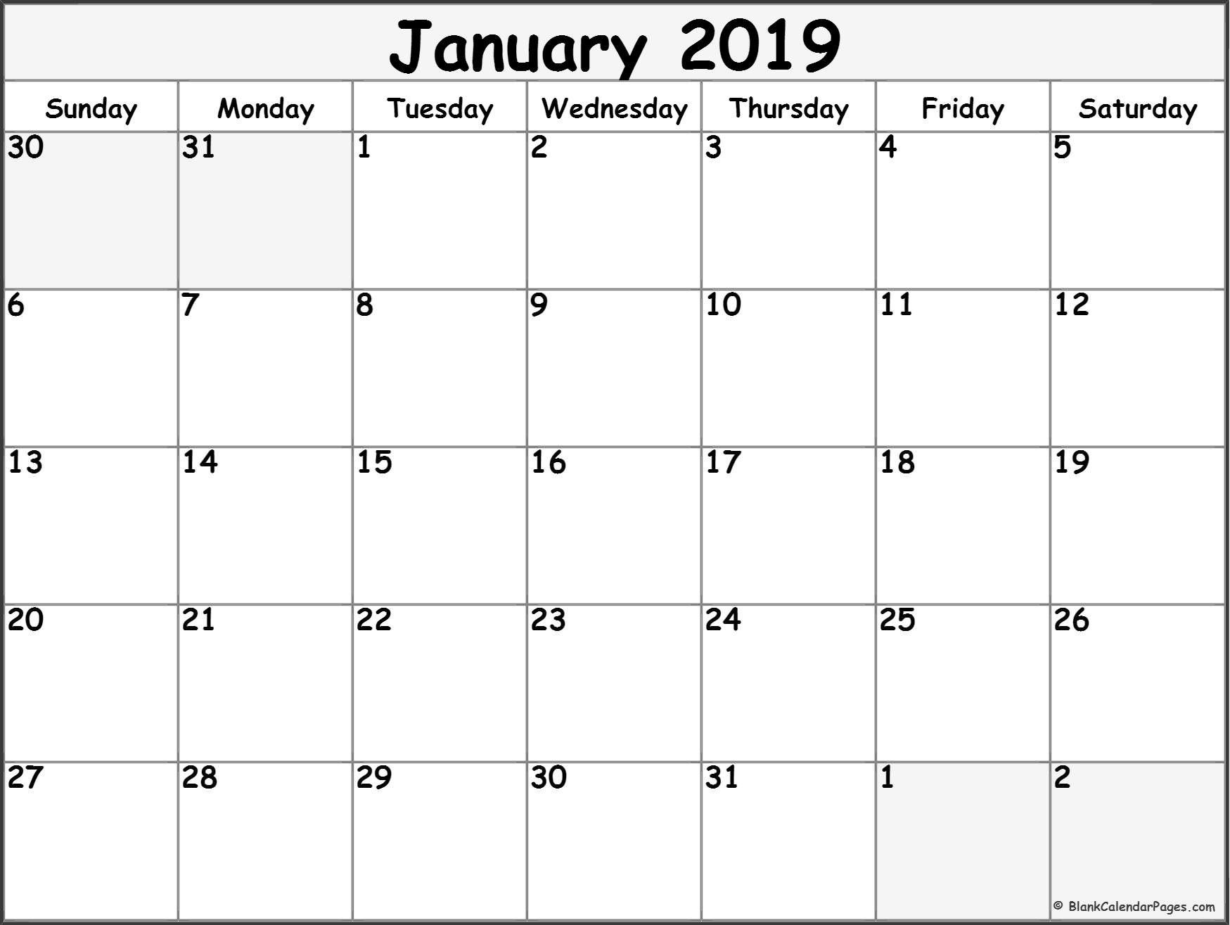 January 2019 Calendar Printable Calendar Calendar2019
