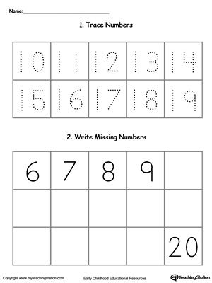 Trace And Write Missing Numbers 10 Through 20 Writing Numbers Number Worksheets Sequencing Worksheets