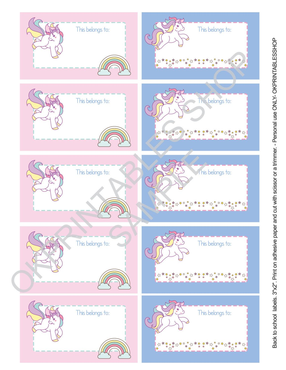 printable unicorns labels for school supplies labels. Black Bedroom Furniture Sets. Home Design Ideas