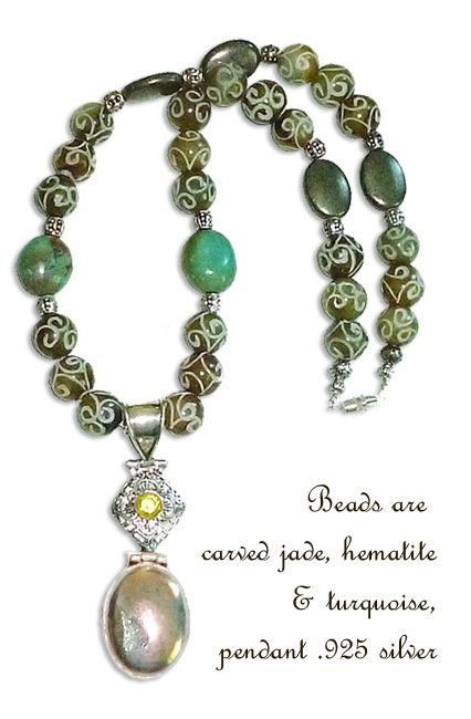 Carved mutton fat jade necklace with turquoise accents