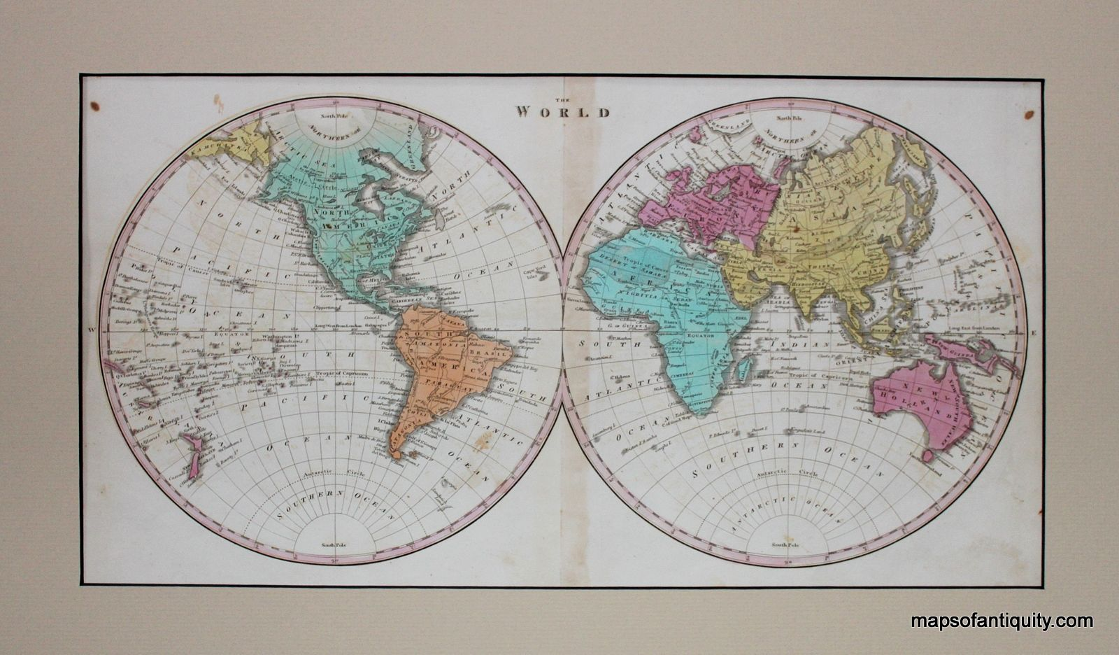 The world 1830 antique engraved hand colored map of the world in the world 1830 antique engraved hand colored map of the world in hemispheres gumiabroncs Image collections