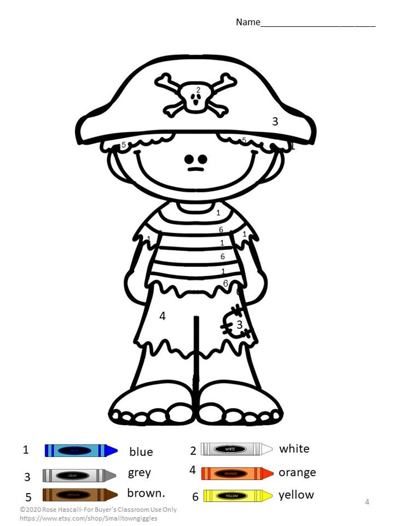Pirate Color By Number Coloring Pages Digital Download Early Childhood Early Finishers Math Centers Fine Motor Activities Kindergarten Math Worksheets Pirate Activities Pirates [ 1059 x 794 Pixel ]