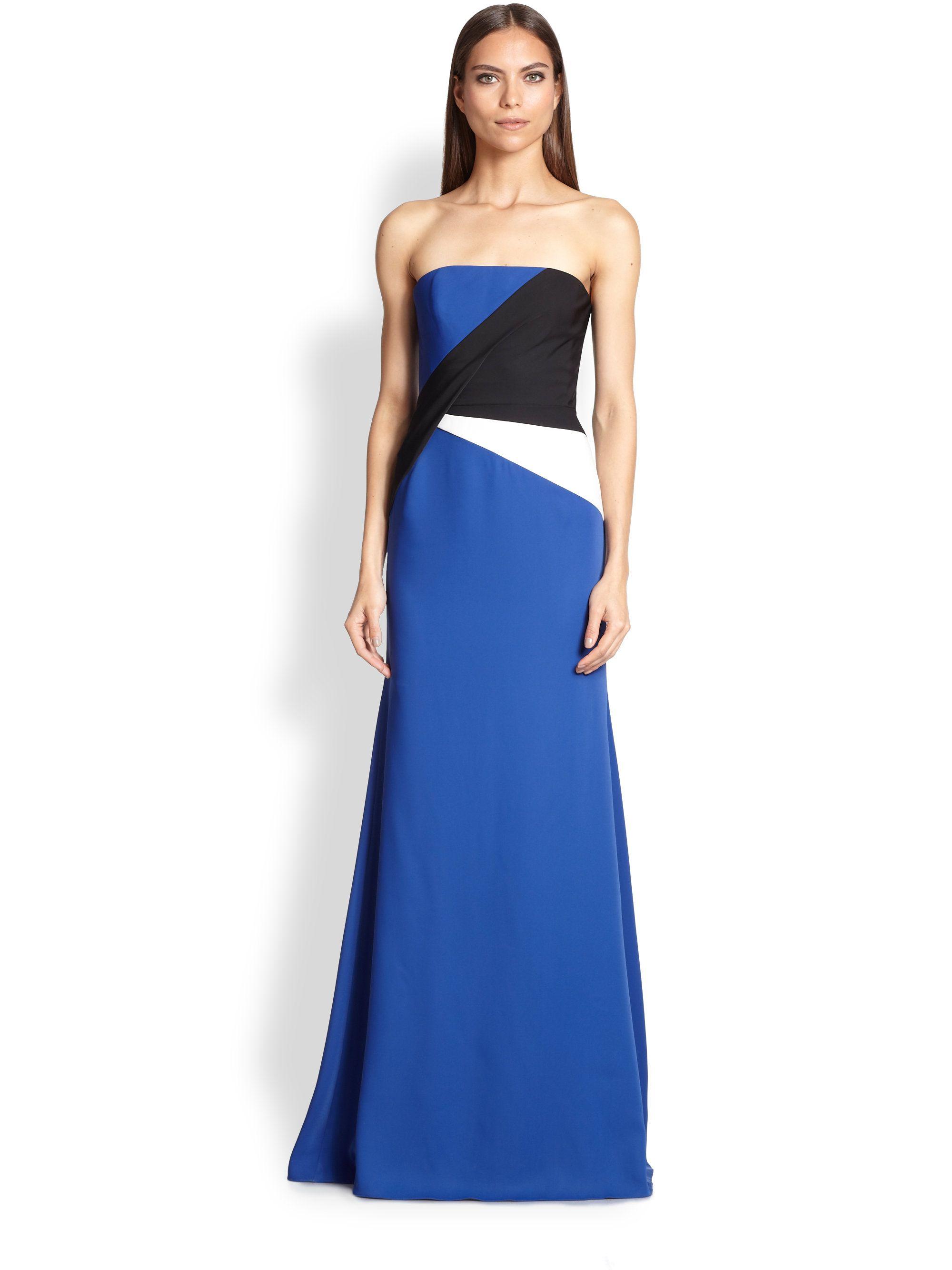 Bcbgmaxazria blue colorblock gown strapless dress formal