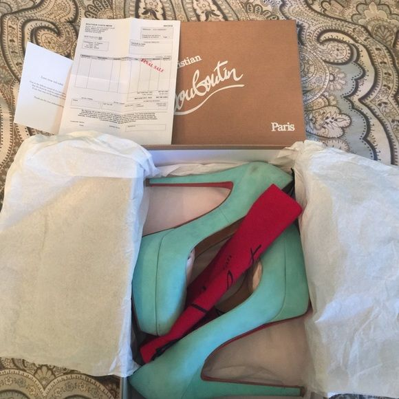Christian Louboutin Size 40 Authentic Christian Louboutin Bianca 140 Suede heels, Color: Aquamarine. Worn only two times. Comes with box, heel tips, shoe bag, and original receipt. Christian Louboutin Shoes Platforms