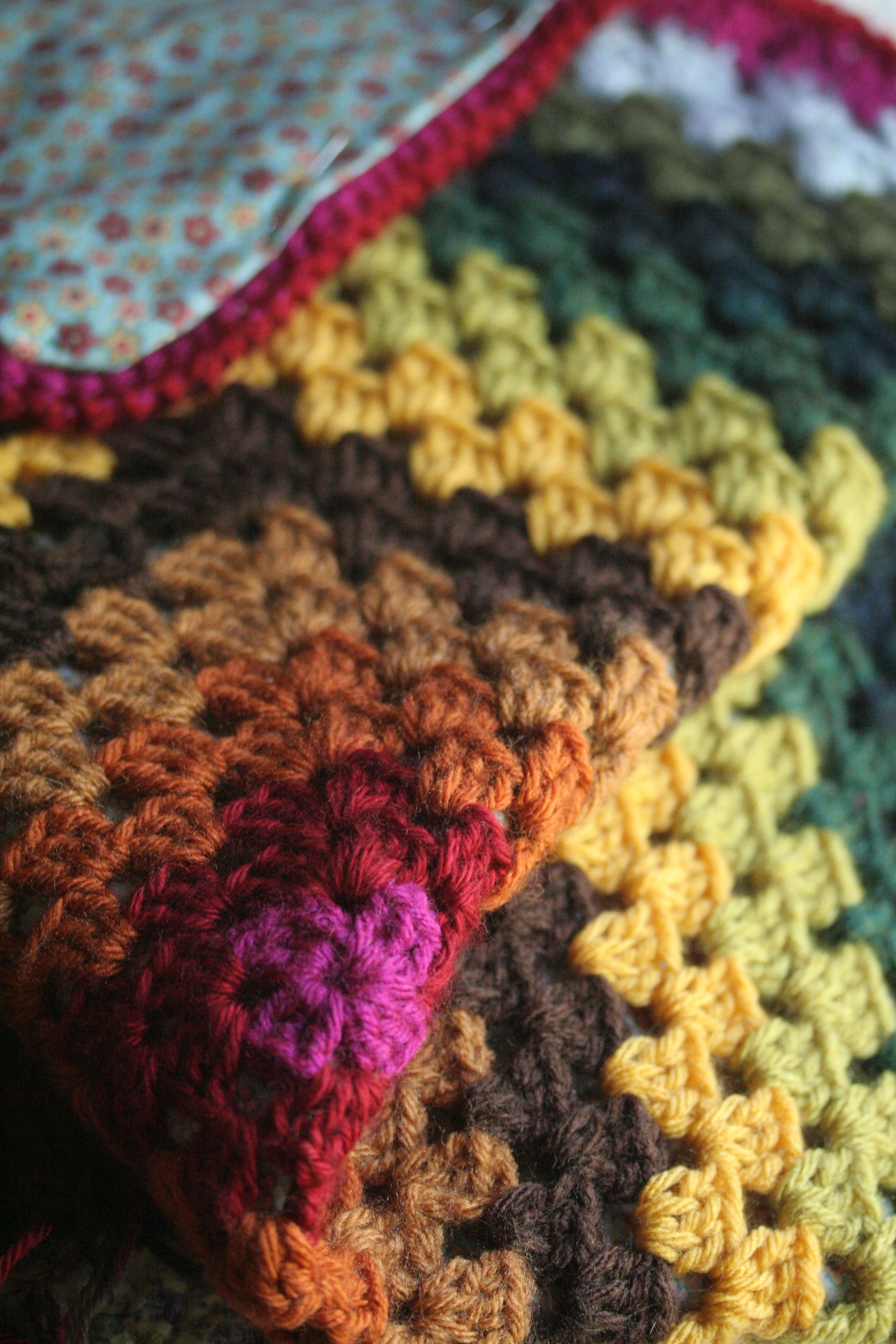 Baby blanket in autumn jewel tones. Big granny square with fabric on ...