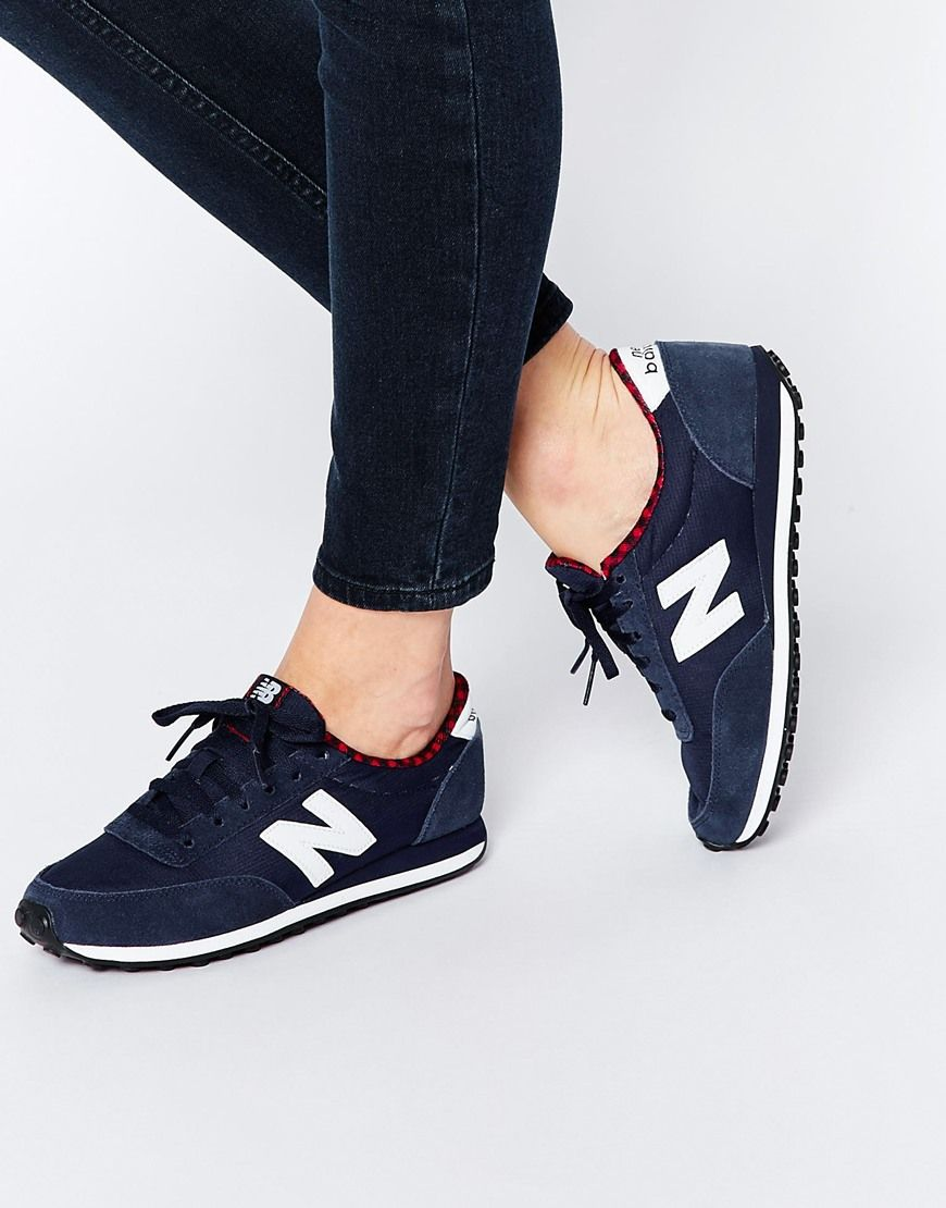 a330ec1286 Image 1 of New Balance 410 Navy White Trainers With Check Trim ...