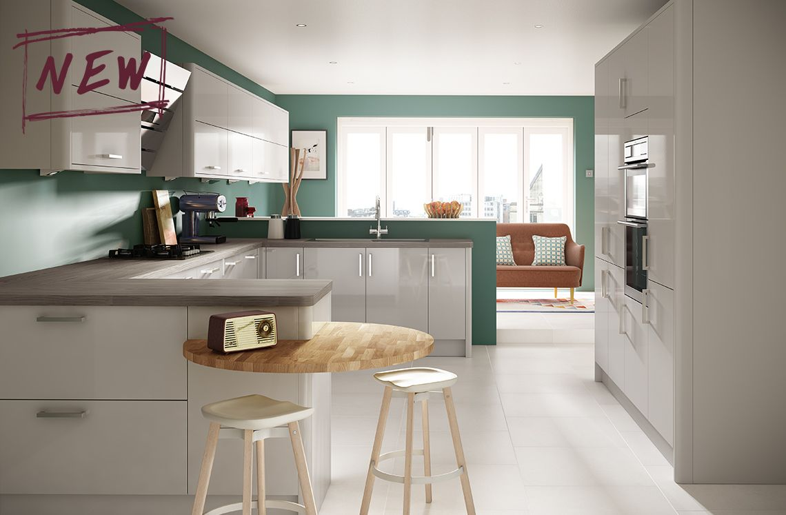 White High Gloss Kitchen Units High Gloss Cashmere Looks Stunning In Our Parma Family This Sleek