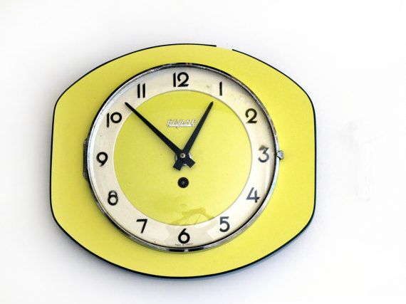 Large French vintage 1950 wall Clock yellow original 50th in ...