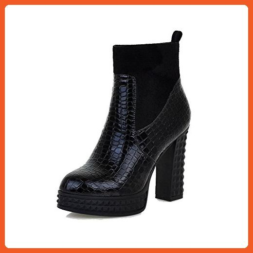 Women's Round Closed Toe High-Heels Soft Leather Low-top Solid Boots