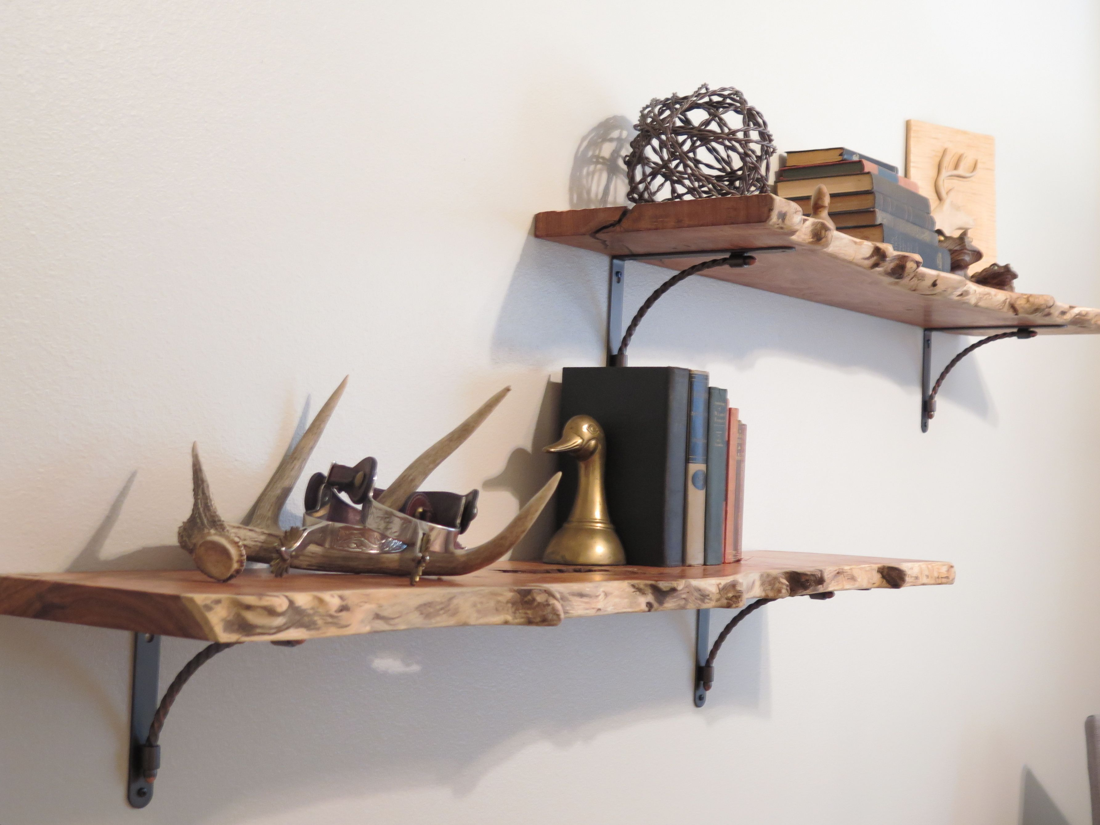 Rustic Nursery: Floating shelves, raw edge mesquite wood | Jack ...