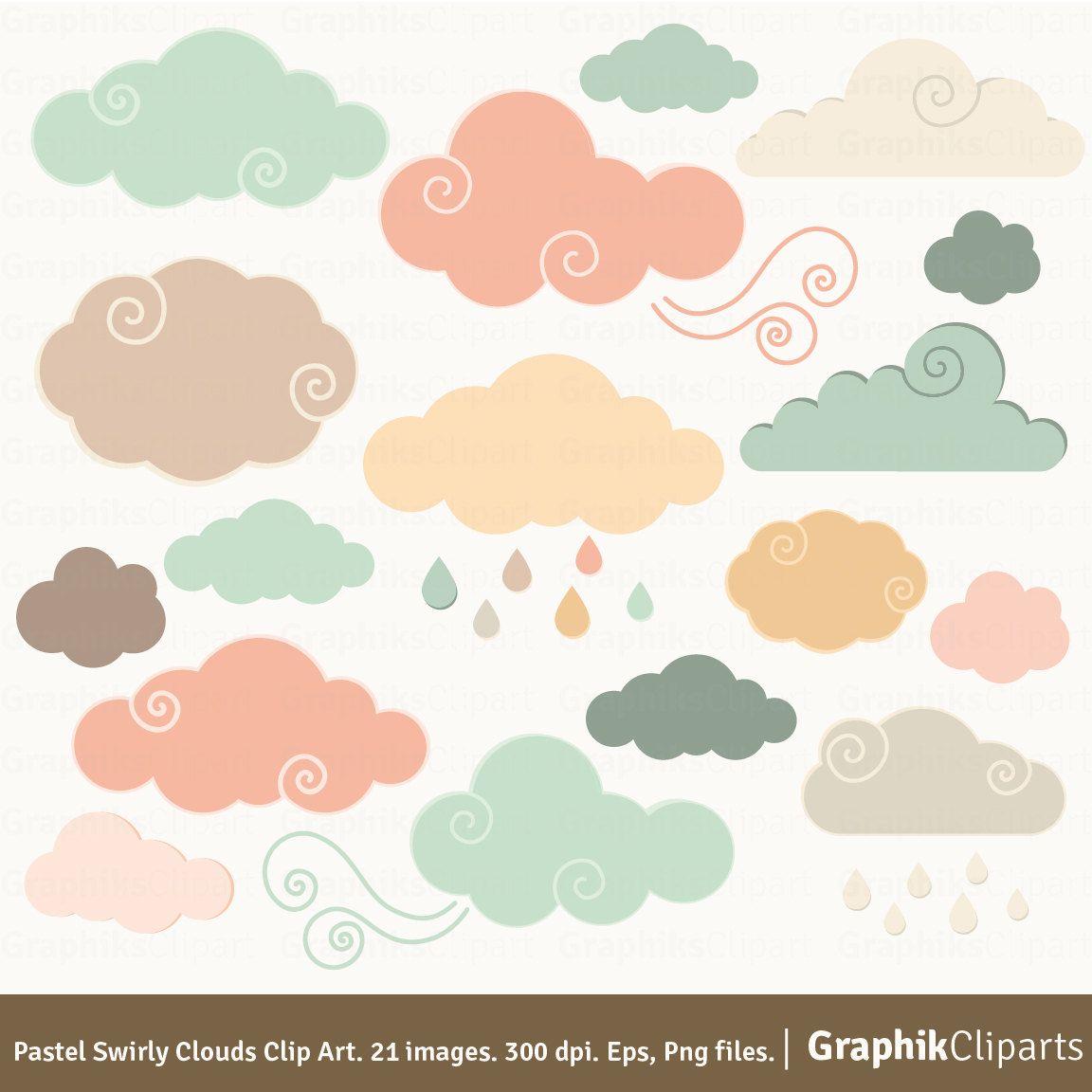 Pastel Swirly Clouds Clip Art.