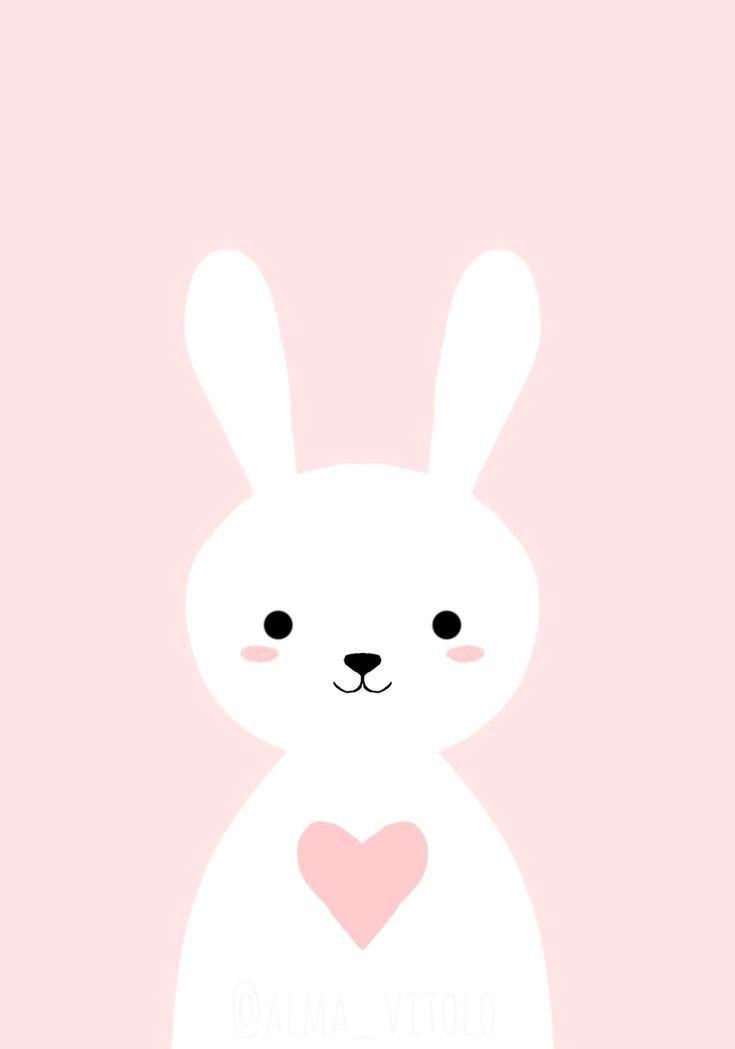 Cute Baby Pink Bunny Kids Room Art Cute Wallpapers Cute Cartoon Wallpapers