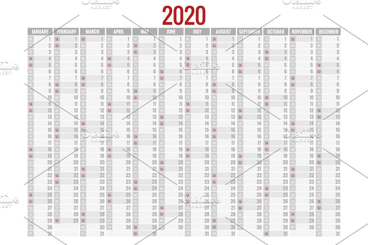 2020 Year Calendar Holiday Event 2021 Calendar Planner Template