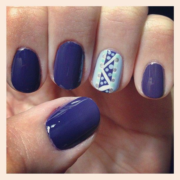 Cute blue, aqua and polka dot nails by mac_schoen71 using Essie ...