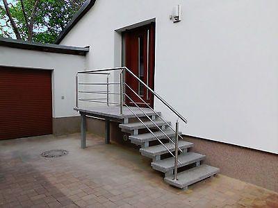 Details Zu Treppe Aussen Haus Eingang Podest Naturstein Granit Beton Stufe  Tritt Hellgrau | Haus