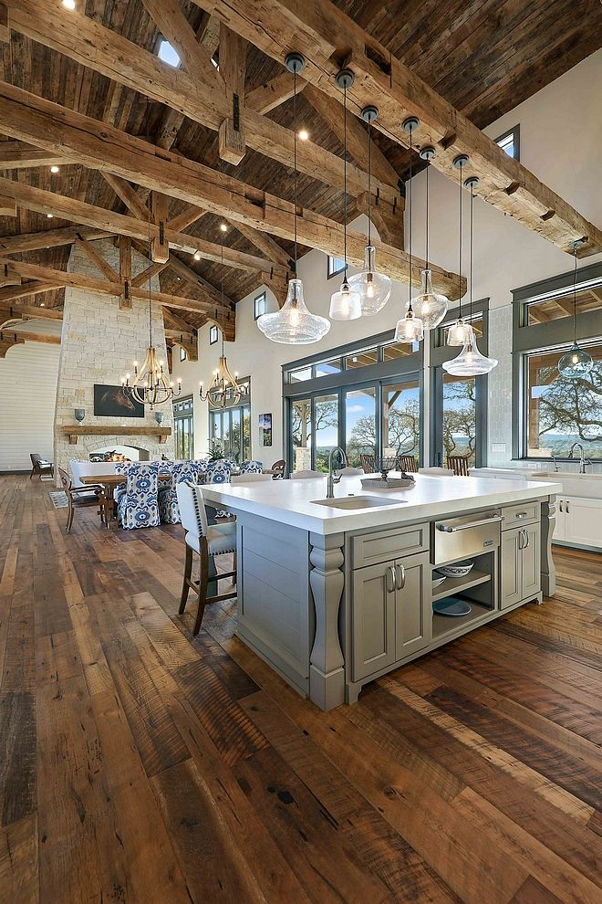 Kitchen Great Room Design: Reclaimed Beams Rafters Joints Trusses Kitchen And Great