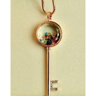 Swarovski Long Key Pendant Sweater Chain Necklace