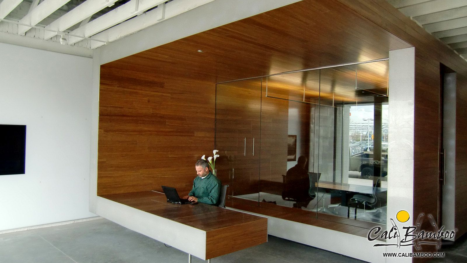 Cali Bamboo Flooring As A Unique Office Wall Treatment