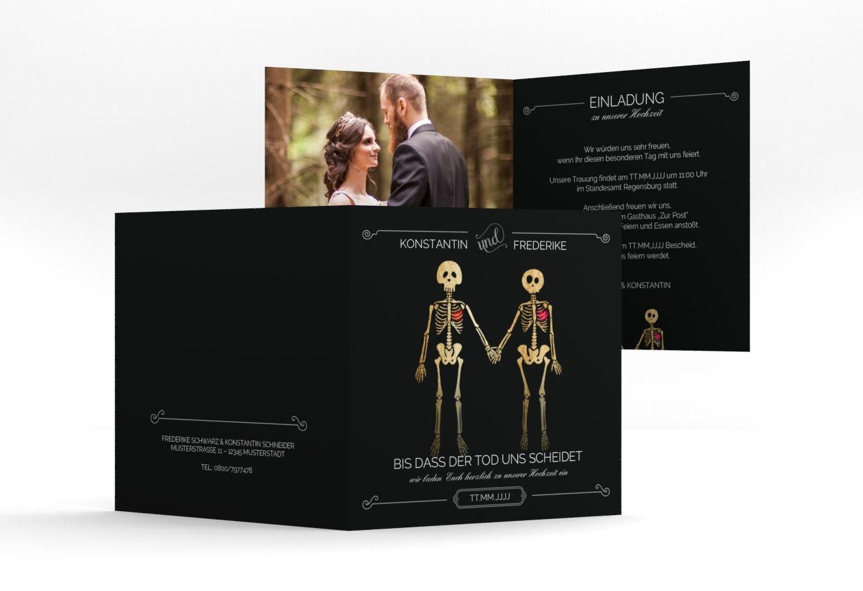 Die einladung der kollektion bones lädt mit viel schwarz zur hochzeit ein thema dü hochzeit einladungskarten der start für das gelungene fest in