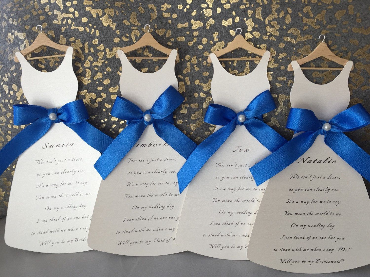 Royal Blue Wedding Invitation Cards: Will You Be My Bridesmaid..? Royal