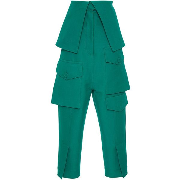 Marni     Origami Flap Pant (78.460 RUB) ❤ liked on Polyvore featuring pants, green, marni, blue high waisted pants, high rise trousers, cotton trousers and blue cotton pants