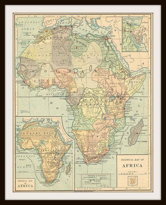 AFRICA Antique Map Buy Maps Get FREE By KnickofTime - Buy historical maps