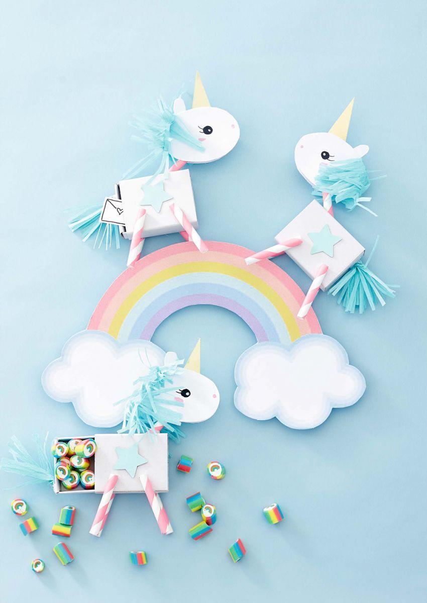 Diy unicorn favor boxes kids einhorn geschenke und einhorn party - Einhorn geschenkverpackung ...