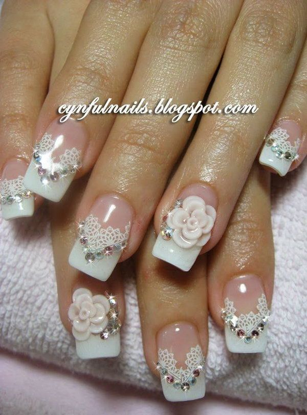 Lace And Flower Nail With Gems Nail Art Pinterest Flower