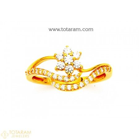 22K Gold Ring For Women with Cz 235 GR4217 Buy this Latest