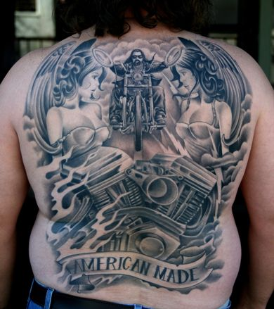 American Made biker tattoo. This is just amazing. Awesome art.