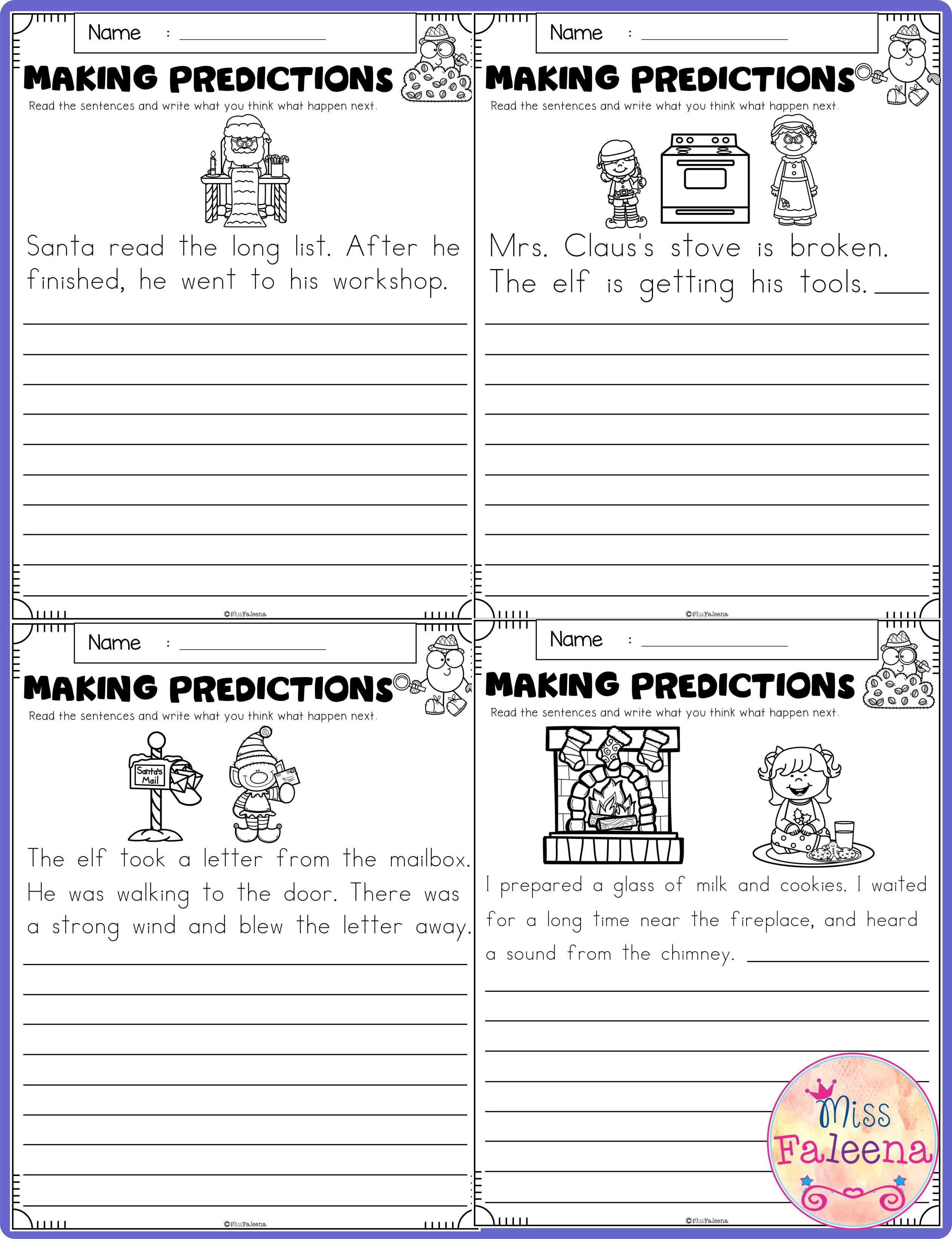 December Making Predictions Contains With Total Of 30 Pages Of Making Prediction Worksheets This Product Is Suitable For First Through Third Grade Students Th