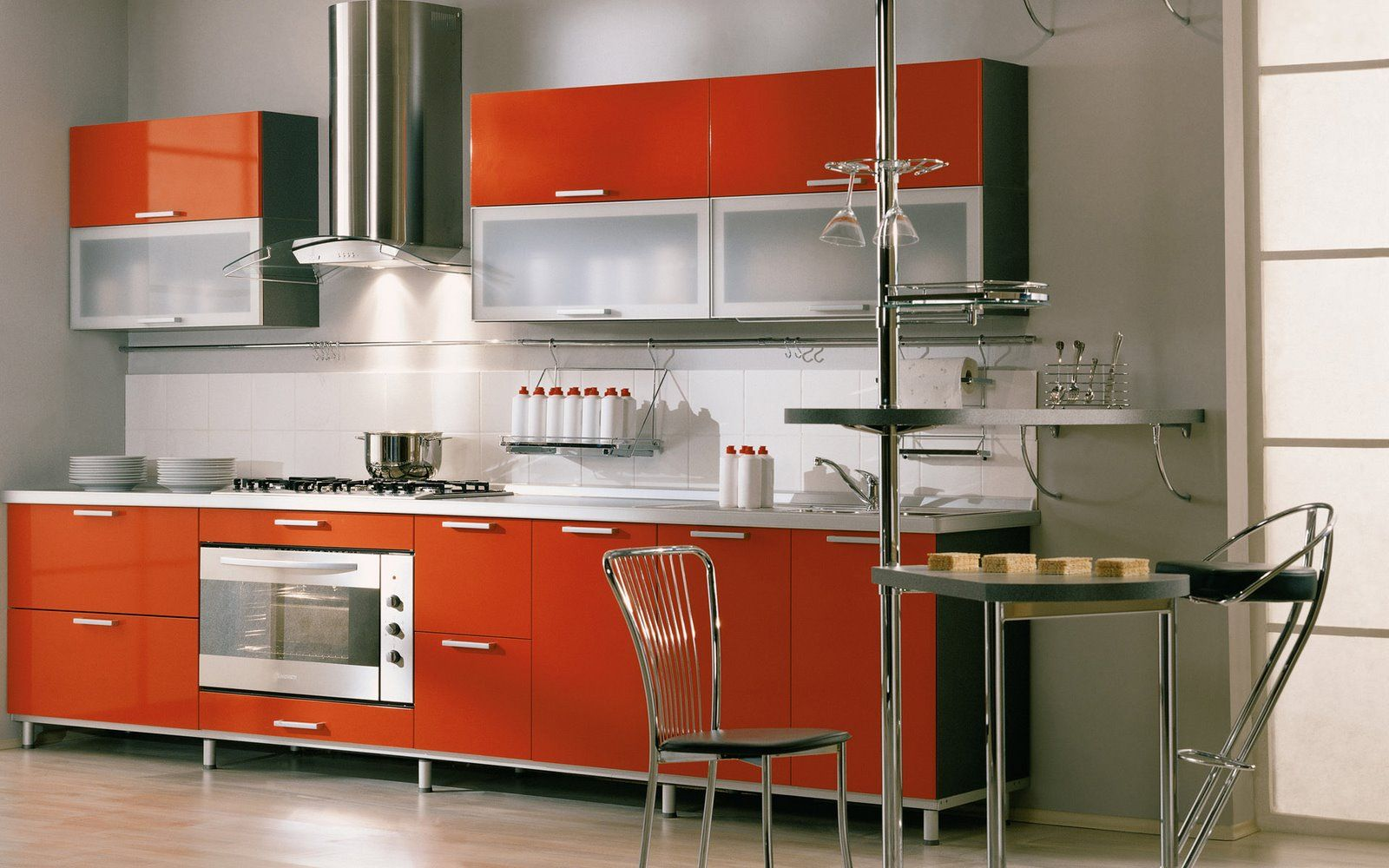Orange And White Kitchen Ideas Part - 27: Innovative Small Modular Kitchen Decor Inspirations : Impressive Grey Small  Modular Kitchen Design With Orange Kitchen Cabinets And White Ceramic Tiles  ...