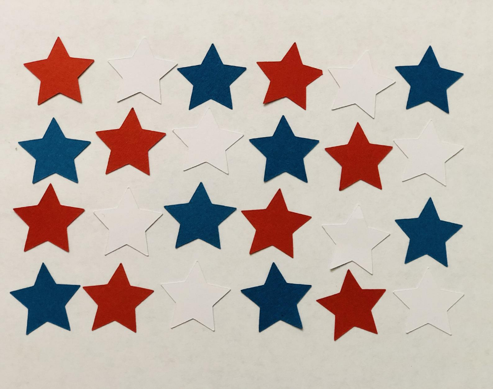 Red White And Blue Confetti Stars 4th Of July Confetti Independence Day Paper Crafts Red White And Blue Cardstock Easter Paper Crafts Paper Crafts Crafts
