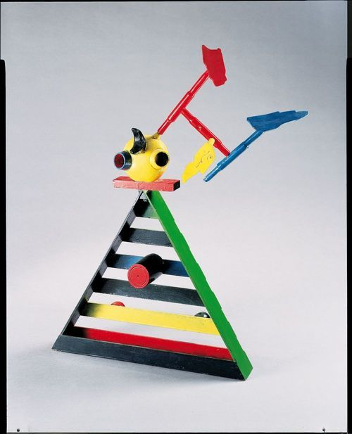 Maquette pour Personnage et oiseaux (Model for Personage and Birds)  1973  Painted wood