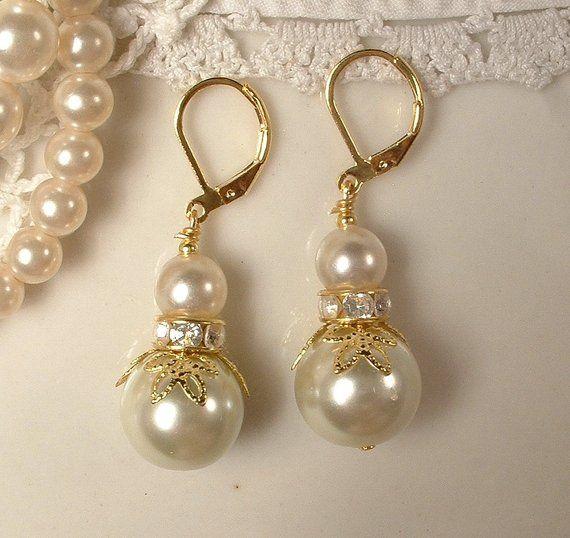 Photo of Ivory Pearl & Rhinestone Gold Bridesmaid Earrings, Bridal Drop/Dangle Leaf Earrings, Modern Vintage Wedding Jewelry Gift