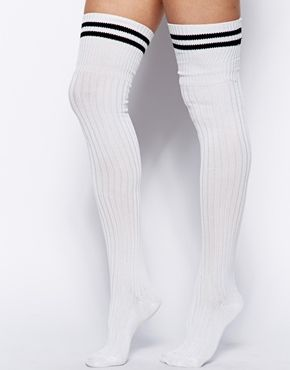89a360420a6 ASOS 2 Stripe Over The Knee Socks