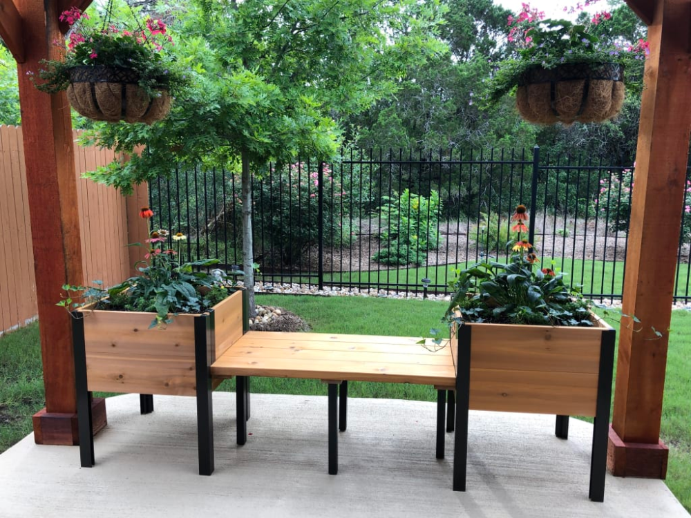 Elevated Cedar Planter Bench Natural Gardener S Supply Cedar